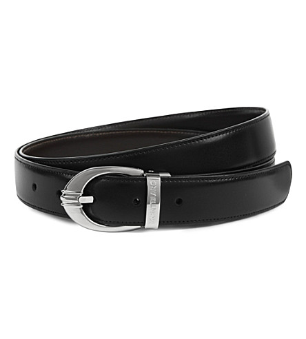 MONTBLANC Reversible oval-buckle belt (Black+brown