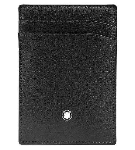 MONTBLANC Meisterstück leather 2cc holder with money clip (Black