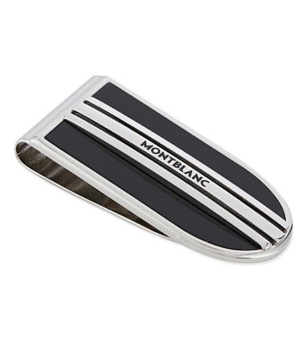 MONTBLANC Onyx stripe money clip (Silver+black