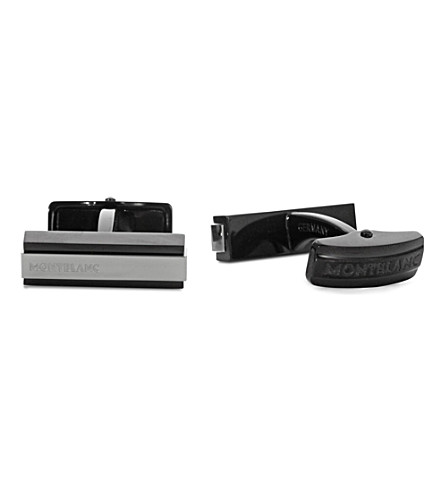 MONTBLANC Iconic bar cufflinks (Silver+black