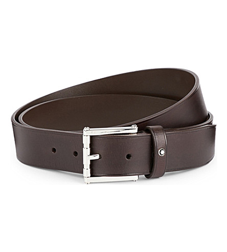 MONTBLANC Square buckle leather belt (Brown
