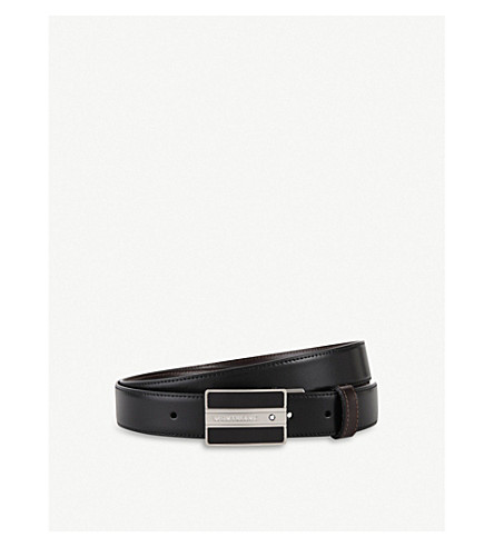 MONTBLANC Embossed leather belt (Black+brown