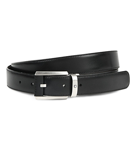 MONTBLANC Reversible leather-insert belt (Black+brown