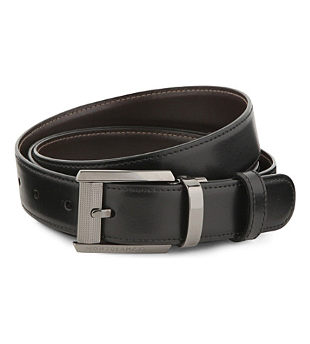 MONTBLANC Reversible leather-insert belt (Black+brown