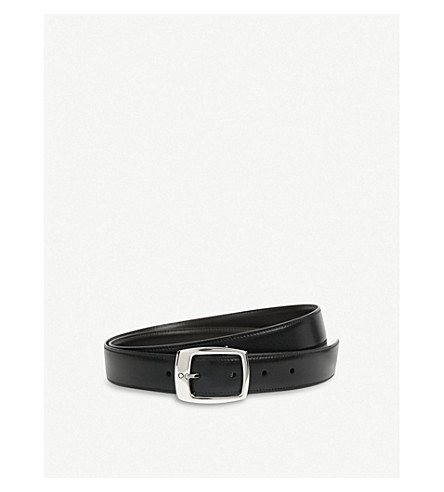 MONTBLANC Reversible logo-detailed leather belt (Black+brown
