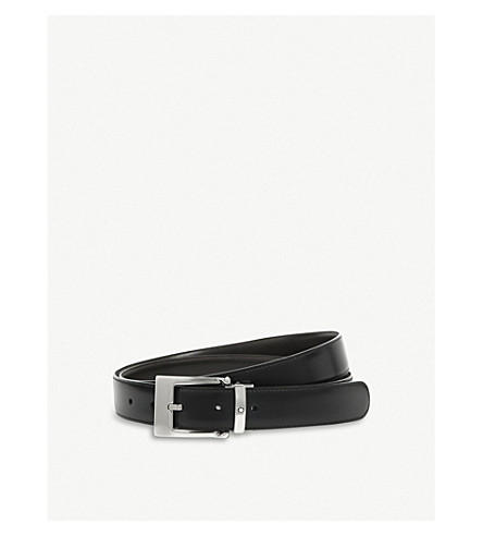 MONTBLANC Reversible leather belt (Black+brown