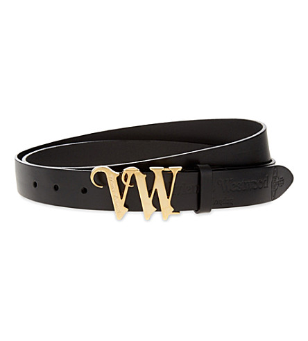 VIVIENNE WESTWOOD Initials buckle leather belt (Nero
