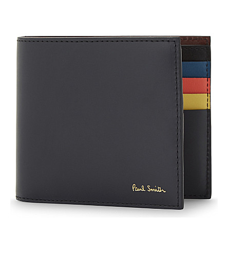 PAUL SMITH ACCESSORIES Colour band leather billfold wallet (Navy