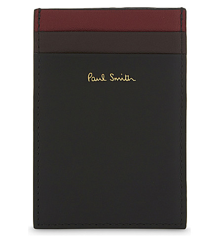 PAUL SMITH ACCESSORIES Colour band leather card holder (Black