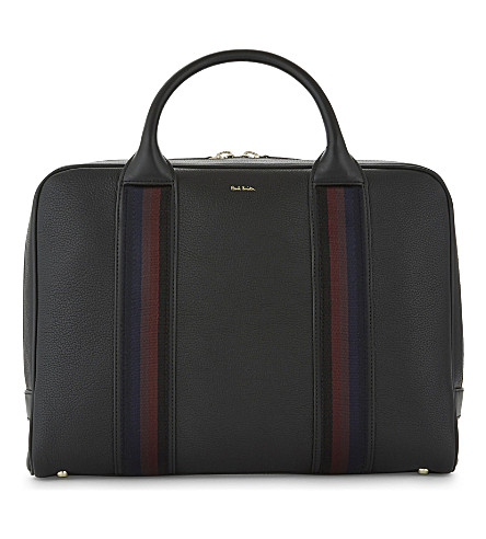PAUL SMITH ACCESSORIES City Webbing grained leather briefcase (Black