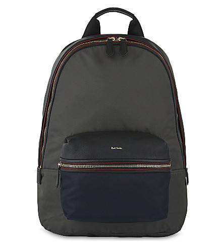 PAUL SMITH ACCESSORIES Leather & nylon backpack (Grey/blue