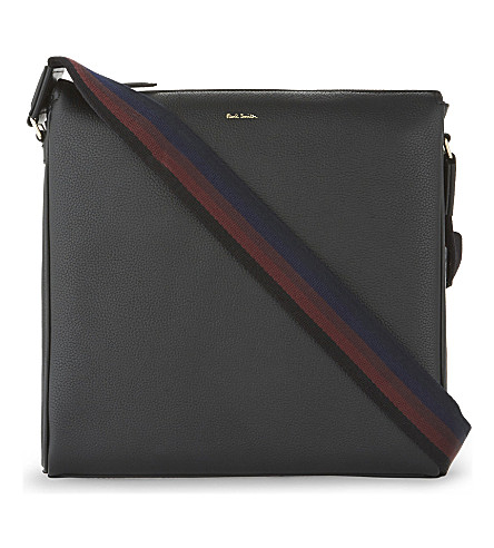 PAUL SMITH ACCESSORIES City Webbing grained leather cross-body bag (Black