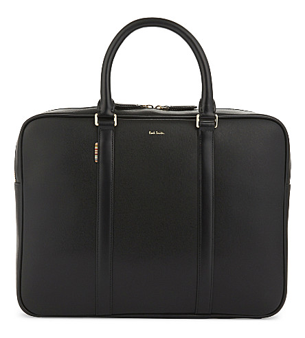PAUL SMITH ACCESSORIES 'City Embossed' leather business briefcase (Black