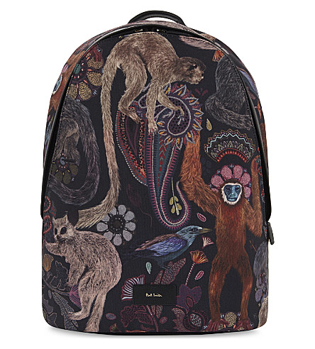 PAUL SMITH ACCESSORIES Monkey print canvas backpack (Multi