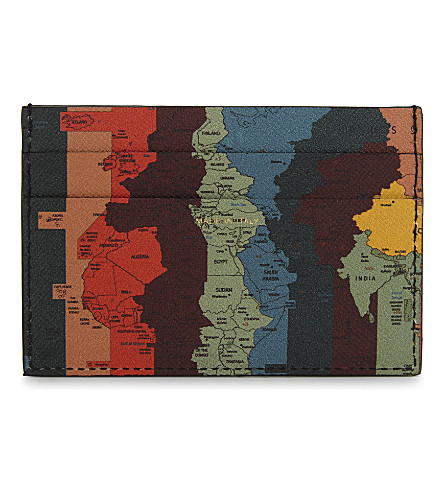 PAUL SMITH ACCESSORIES Map print leather card holder (Multi