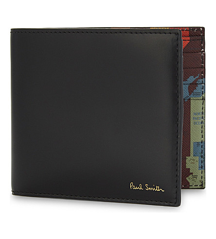 PAUL SMITH ACCESSORIES Map print leather wallet (Multi