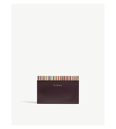 PAUL SMITH ACCESSORIES Striped leather card holder (Oxblood