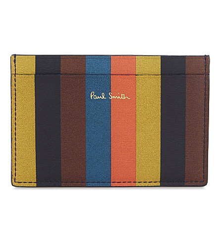PAUL SMITH ACCESSORIES Striped leather card holder (Navy+multi
