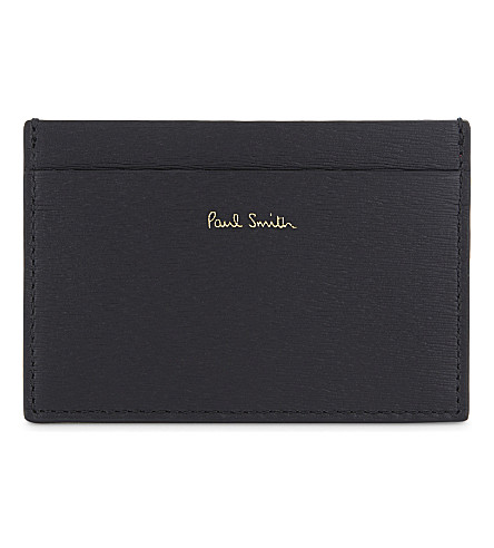 PAUL SMITH ACCESSORIES Grained leather card holder (Black+blue