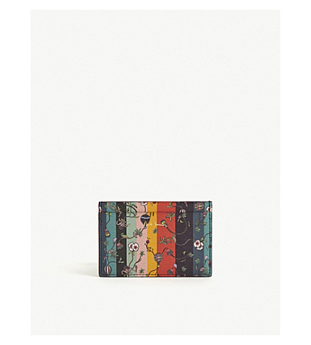 PAUL SMITH ACCESSORIES Balloon stripe leather card holder (Multi