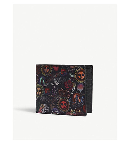 PAUL SMITH ACCESSORIES Psychedelic Sun leather billfold wallet (Multi
