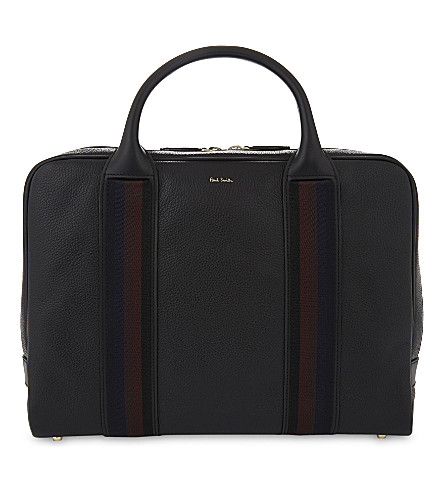 PAUL SMITH City Webbing grained leather briefcase (Black