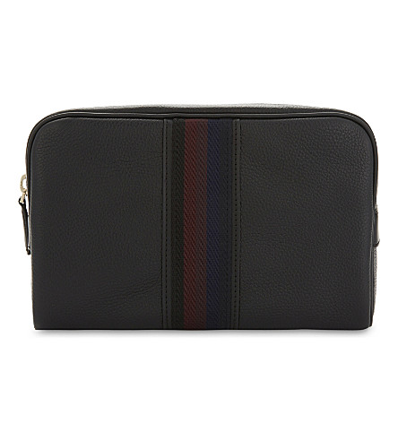 PAUL SMITH ACCESSORIES City Webbing leather wash bag (Black