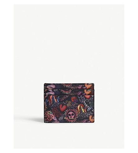 PAUL SMITH ACCESSORIES Psychedelic Sun leather slip card holder (Multi