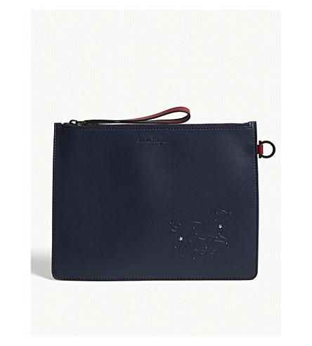 SALVATORE FERRAGAMO Dog constellation leather zipped pouch (Blue+red