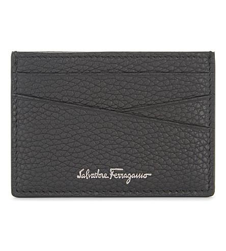 SALVATORE FERRAGAMO Firenze grained leather card holder (Black