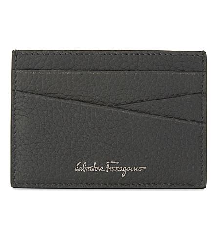 SALVATORE FERRAGAMO Firenze Saffiano leather card holder (Grey