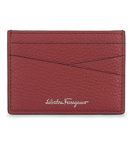SALVATORE FERRAGAMO Firenze grained leather card holder (Red