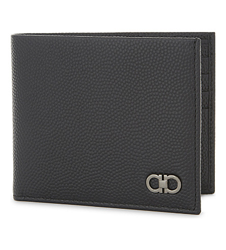 SALVATORE FERRAGAMO Gancho pebbled leather wallet (Black