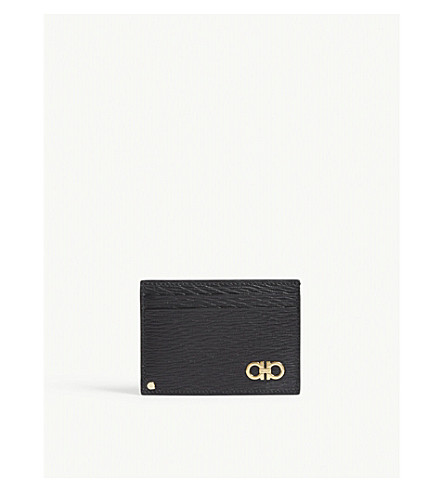 SALVATORE FERRAGAMO Gancio textured leather card holder (Black