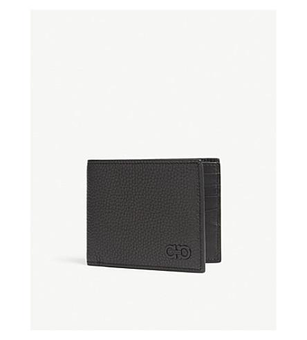 SALVATORE FERRAGAMO Gancio grained leather billfold wallet (Black