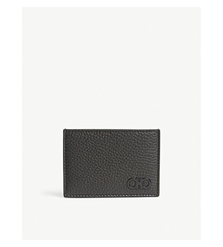 SALVATORE FERRAGAMO Gancio leather card holder (Black