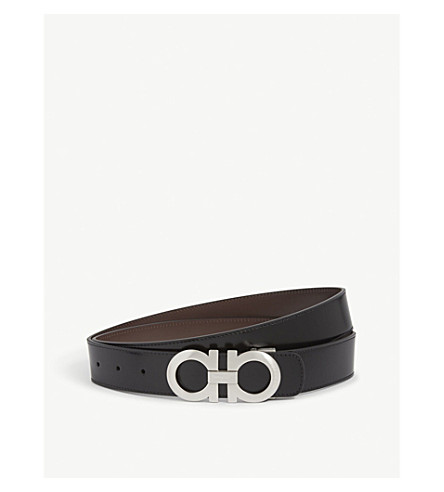 SALVATORE FERRAGAMO Reversible leather logo belt (Blk+brown+silver