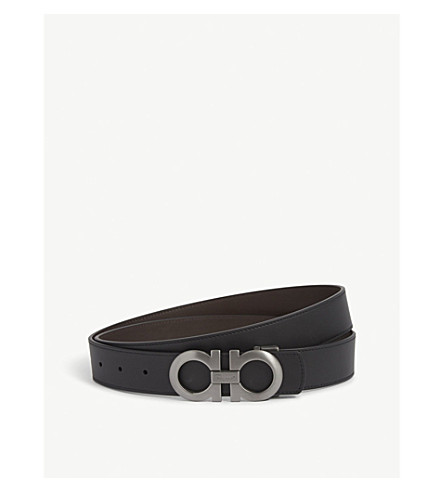 SALVATORE FERRAGAMO Reversible leather logo belt (Blk+brown+gunmetal