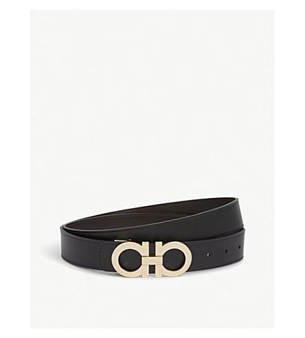 a75feba00d ... SALVATORE FERRAGAMO Reversible leather logo belt (Blk+brown+gold.  PreviousNext