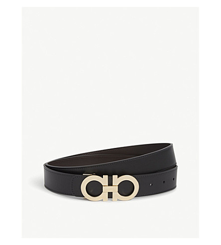 SALVATORE FERRAGAMO Reversible leather logo belt (Blk+brown+gold