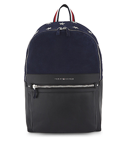 TOMMY HILFIGER Icons suede and leather backpack (Navy+mix
