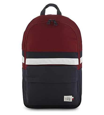 TOMMY HILFIGER Web stripe backpack (Red+navy