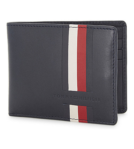 TOMMY HILFIGER Striped leather wallet (Tommy+navy