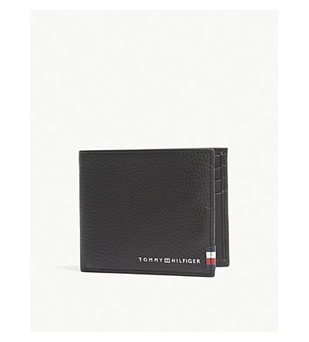 TOMMY HILFIGER Logo-print leather mini wallet (Black