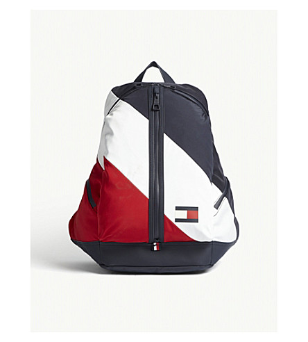 TOMMY HILFIGER Speed logo-detail striped shell backpack (Blue+wht+red
