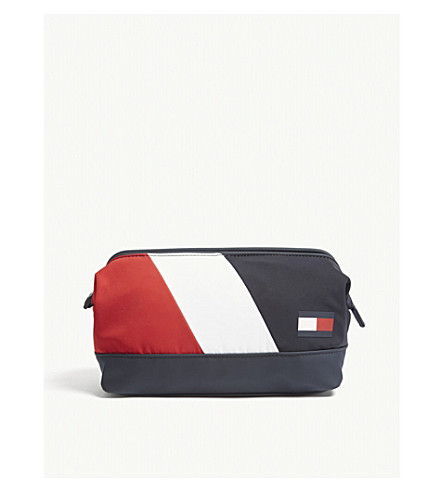 TOMMY HILFIGER Speed logo-detail striped shell toiletry bag (Blue+red+wht