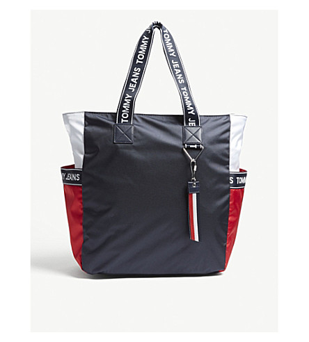TOMMY HILFIGER Tommy Jeans logo-detailed tote bag Navy red wht Best Wholesale Online Fashion Style Cheap Price Clearance Best Store To Get Discount Inexpensive Shopping Discounts Online njhbrteVWs