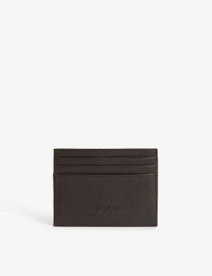 RALPH LAUREN Pony-embossed leather card case