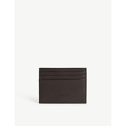 RALPH LAUREN ACCESSORIES Pony-embossed leather card case (Brown