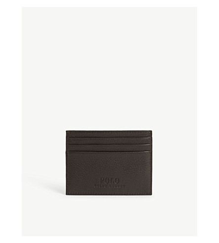 RALPH LAUREN Pony-embossed leather card case (Brown